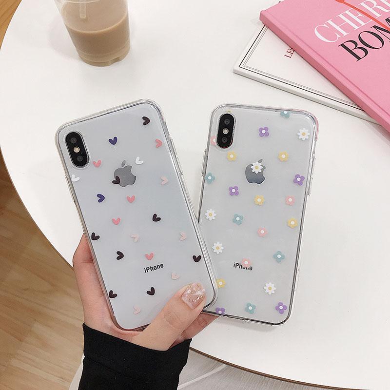 Fundas de teléfono bonitas con corazones y flores para iPhone 11Pro Max 6 6s 7 8 Plus X Xs Max Xr de alta calidad, Fundas suaves transparentes