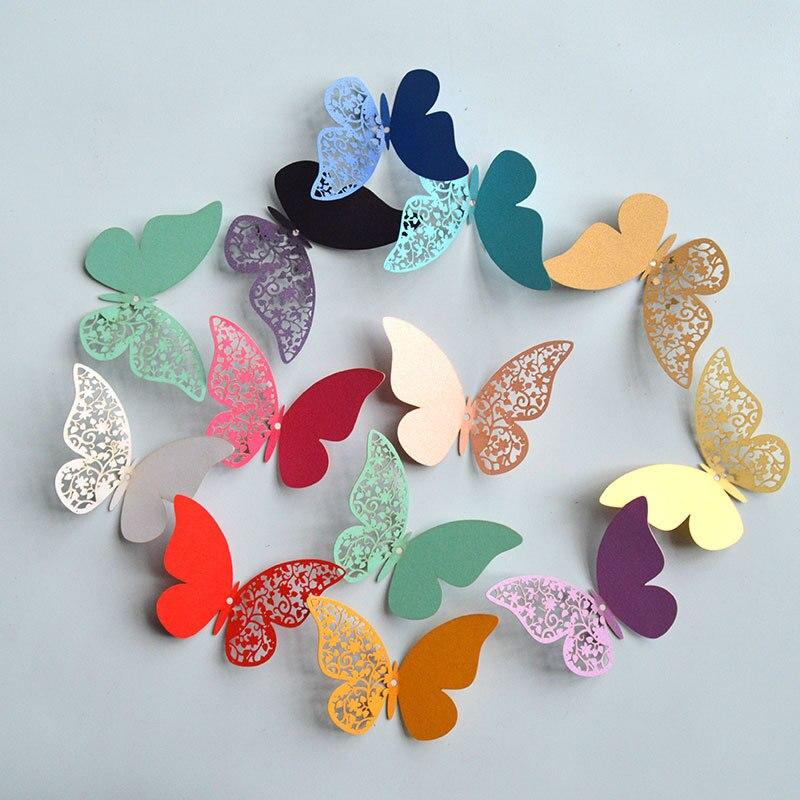 12 Uds media calada 3D mariposa pegatina de pared para la decoración del hogar de la boda mariposas en la pared habitaciones decoración pegatinas multicolores