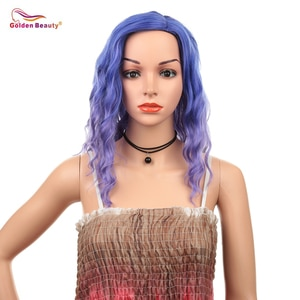 16inch Wavy Bob Wig Blue Hair Cosplay Wig Heat Resistant Synthetic Hair Shoulder Length Short Bob Wigs for Women Golden Beauty