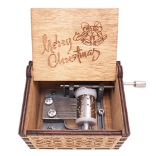 Christmas Music Box Hand Crank Musical Box Carved Wood Musical Gifts for Kids Musical Toys,Play We W