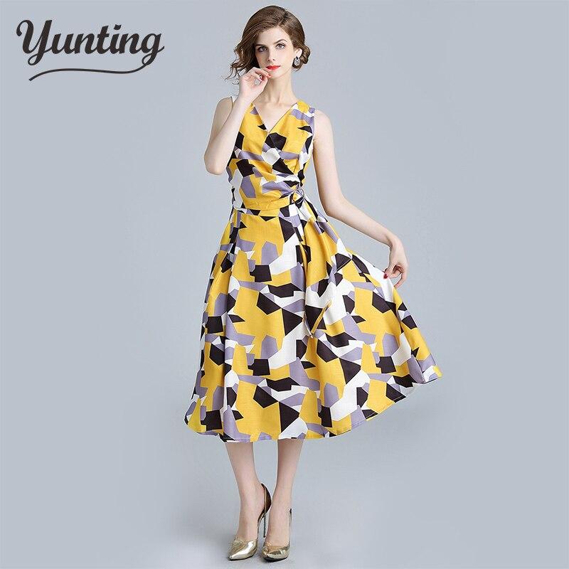 Vestido geométrico de cintura alta con cuello en V para mujer, novedad de verano 2021