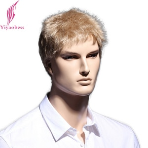 Yiyaobess 6inch Straight Blonde Short Wig Natural Hair Men Heat Resistant Synthetic Hairstyles