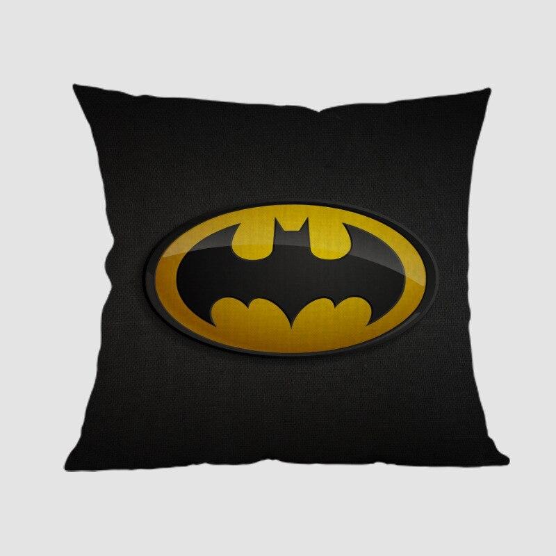 Batman logotipo, símbolo insignia diseño el caballero oscuro impresión cojín decorativo negro Tema de súper héroe funda de cojín de sofá 45x45cm