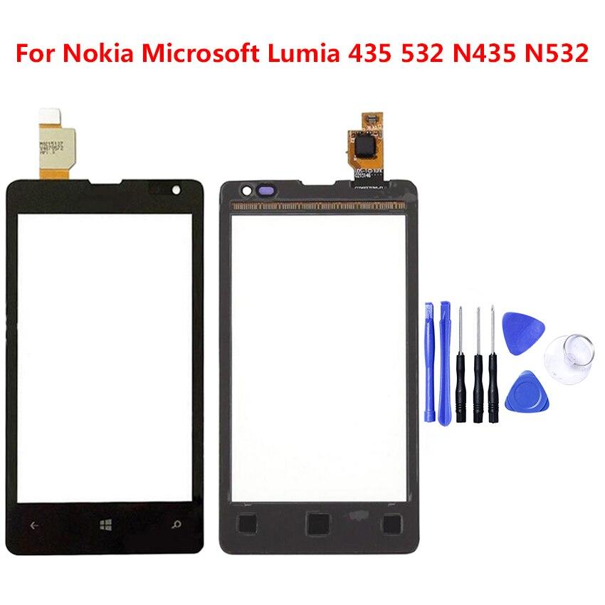 Zerosky teléfono Panel táctil de vidrio frontal de la lente digitalizador de Sensor para Nokia Microsoft Lumia 532 de 435 N435 N532