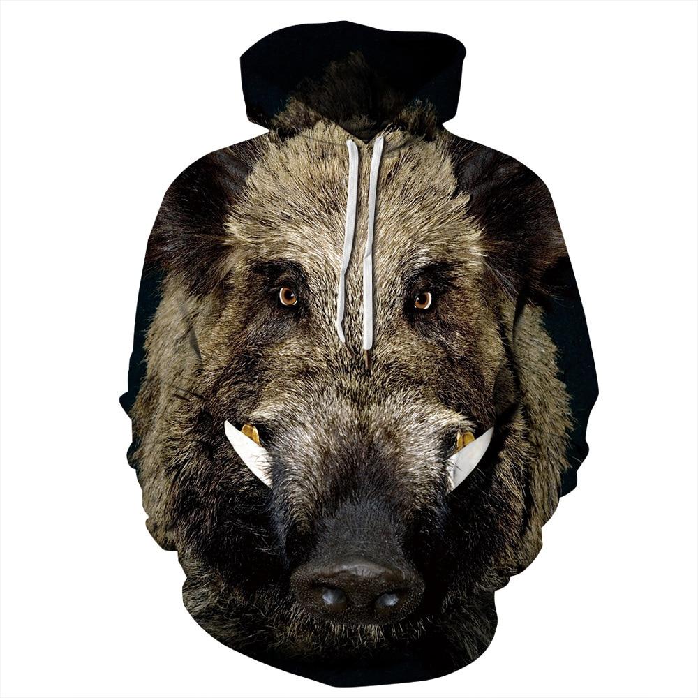 Wild boar 3D Sweatshirt Men Women Hoodies Plus Size Pullover Novelty Casual pig