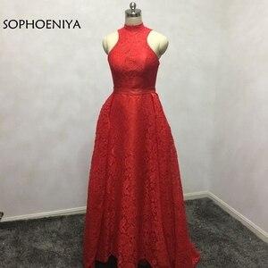Новое поступление, красное кружевное вечернее платье с высоким воротом, 2020, вечернее платье, длинное платье, vestido de festa abiye abendkleider