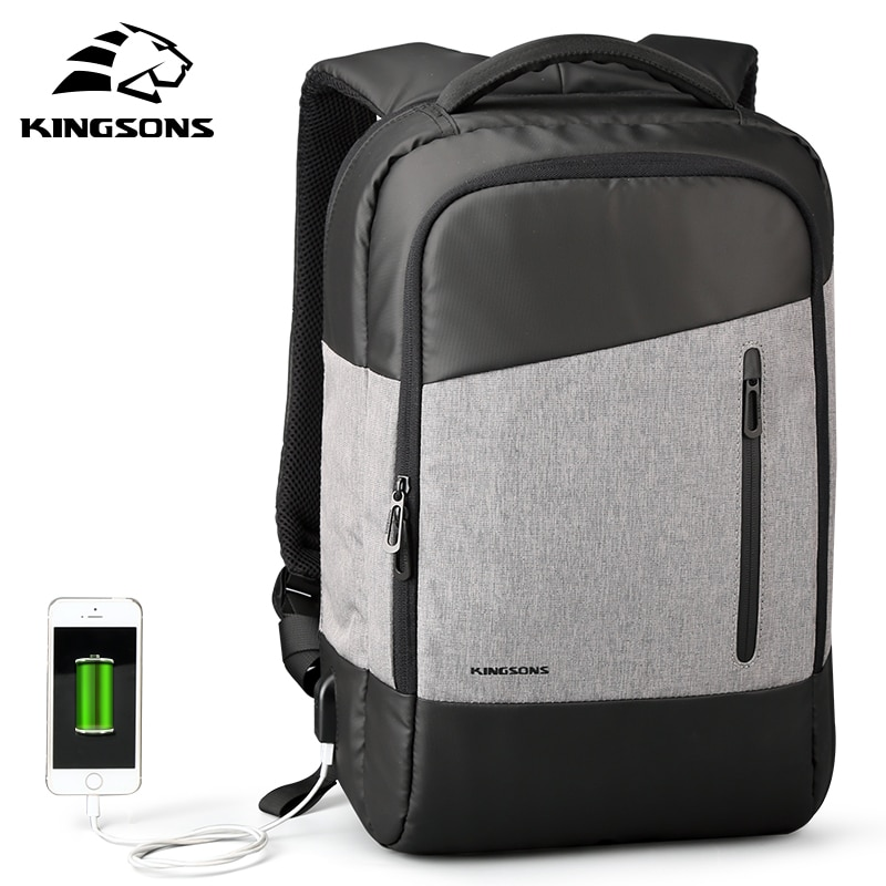 KINGSONS USB Port Waterproof Laptop Backpack for 15.6 Inch Computer Bag with Phone Sucker Travel Bus