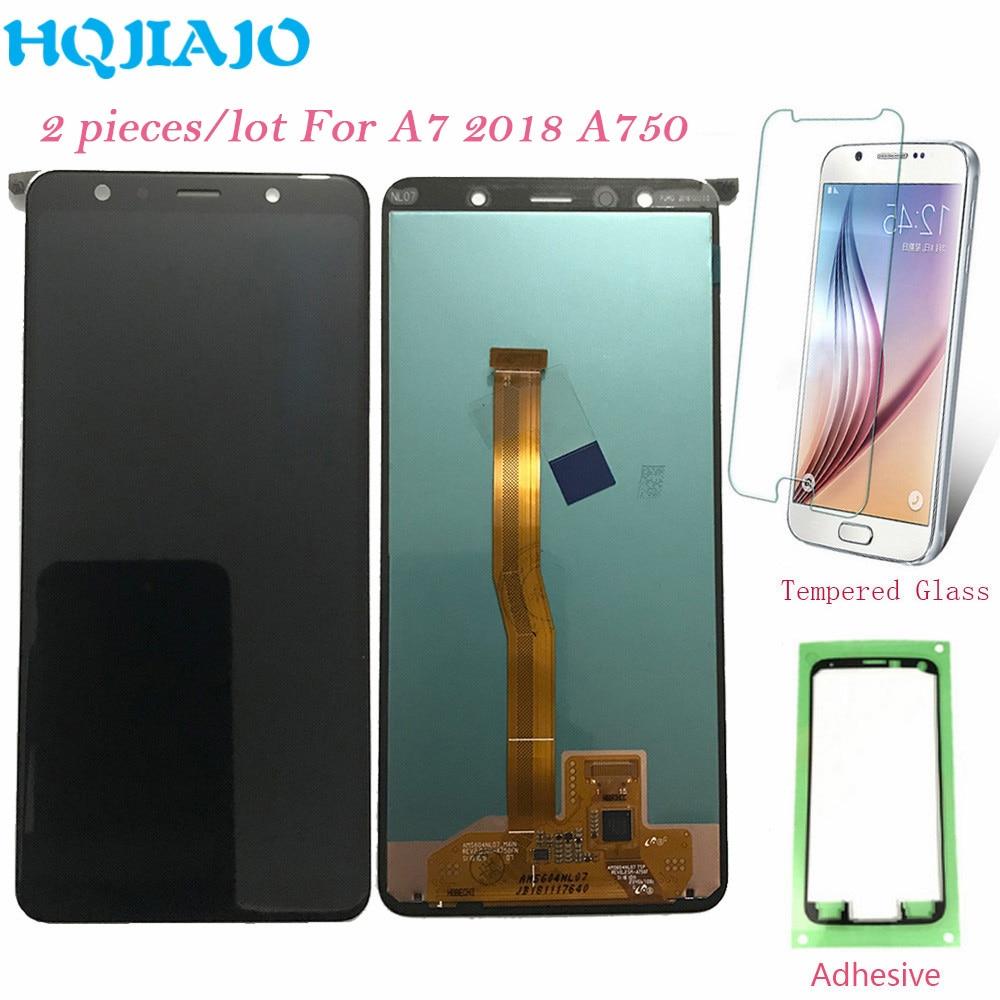 "2 unids/lote 6,0 ""LCD para Samsung A750 pantalla LCD Digitalizador de pantalla táctil para el modelo Samsung galaxy A7 2018 A750 A750F A750FN Original"