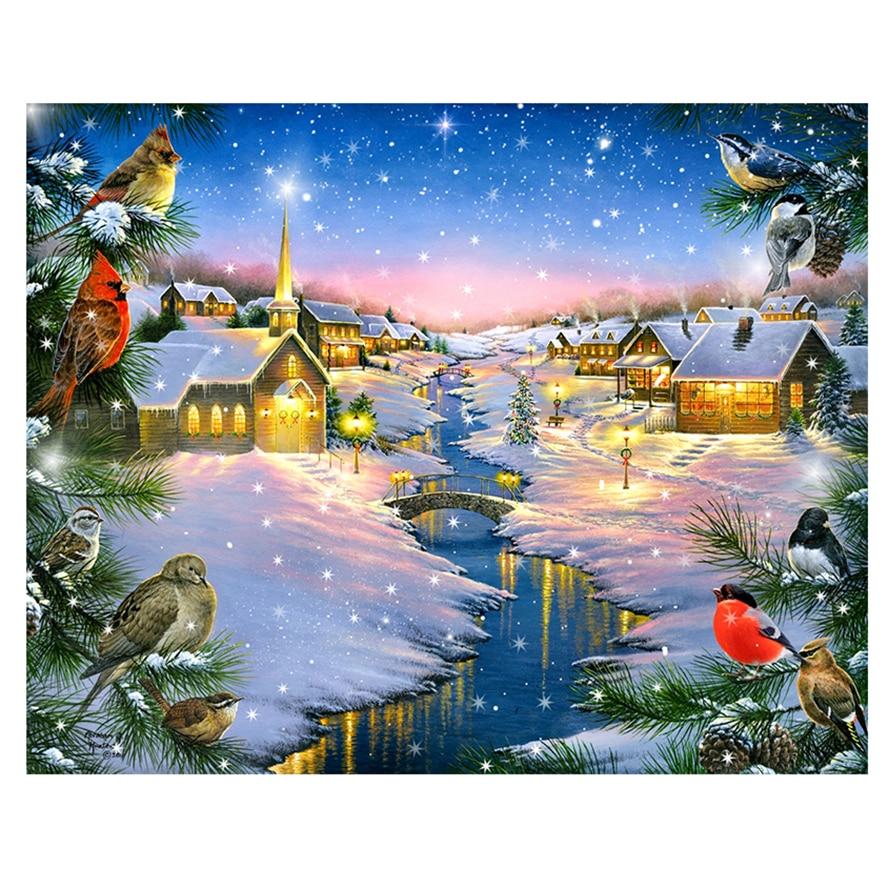Full Diy Diamond Painting Embroidery Cross Stitch Warm winter snow night Gift Diamond Mosaic Needlework Art Decoration ZC158