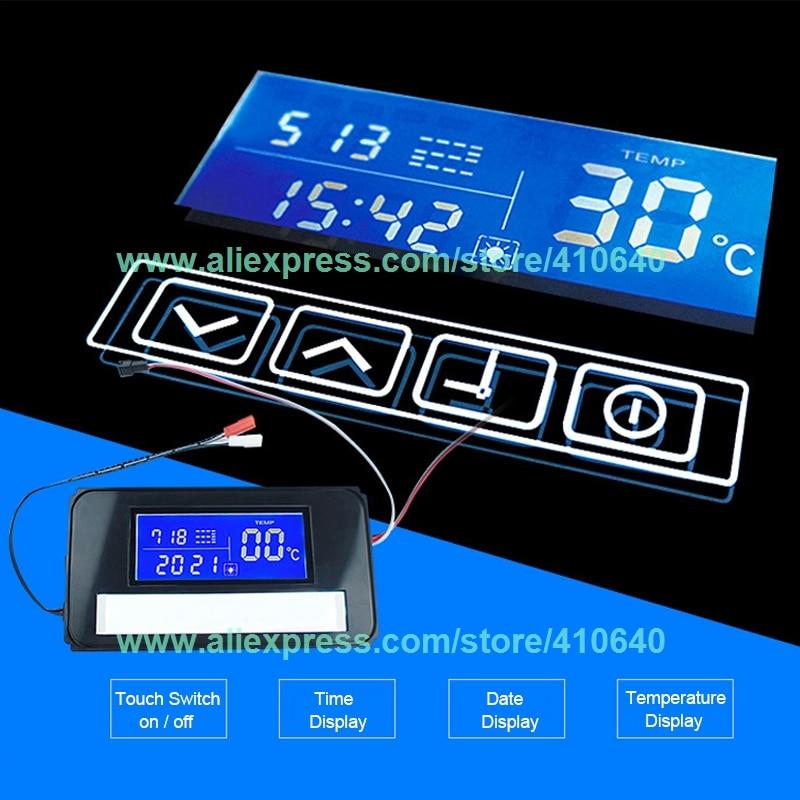 K3014A LED مرآة التبديل التبديل اللمس مع الوقت ونظام عرض درجة الحرارة على مرآة للحمام خزانة خزانة جانبية