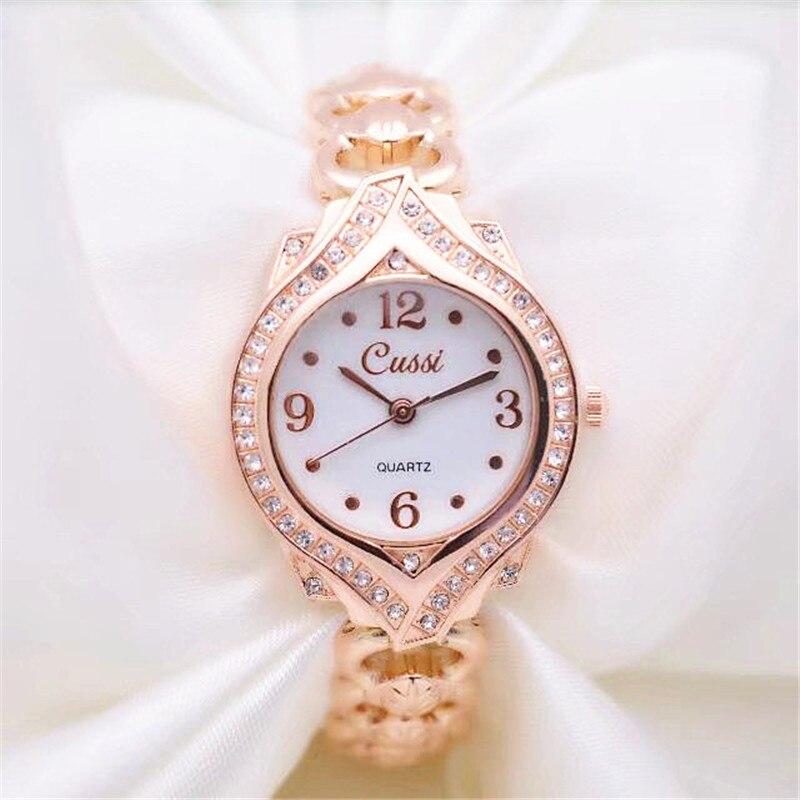 CUSSI 2018 nuevo de diamantes de lujo pulsera de mujer relojes de señoras vestido reloj pulsera reloj de cuarzo de reloj femenino de oro rosa