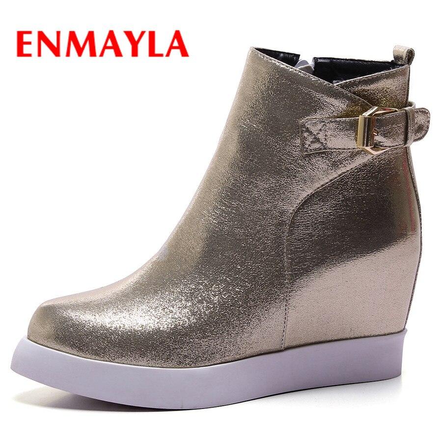Nuevas botas de invierno casuales para mujer de ENMAYLA, cuñas redondas a la moda con hebilla y cremallera, zapatos de piel sintética con plataforma, botas cálidas para mujer