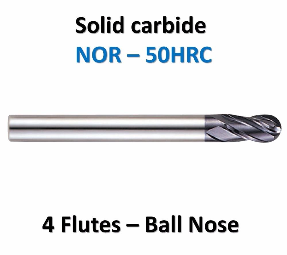 De alta precisión de mecanizado de carburo sólido 4 flauta bola nariz final mills mango recto de acero HRC50 TiAlN R3 * 12 * D6 * 75 * 2F