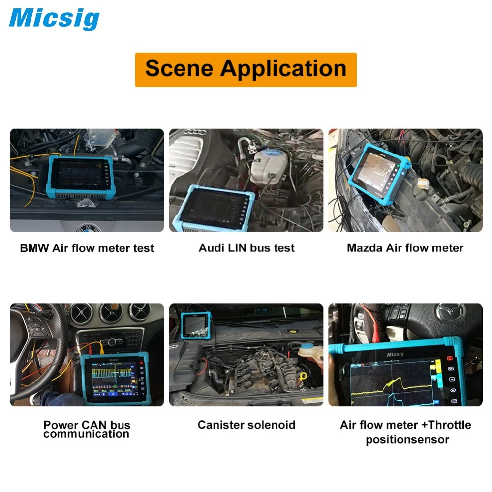 Micsig automotive oscilloscope handheld portable ignition oscilloscope auto oscilloscope 100Mhz 4CH 2CH new arrival