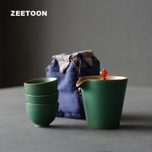 Zen Japanese Portable Travel Quick Cup Ceramic Coarse Pottery Kung Fu Tea Set 3 Teacup+1 Teapot with Bag Creative Home Decor New