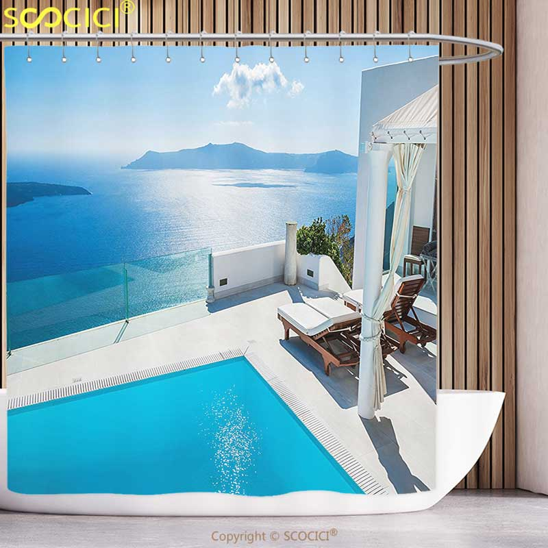 Cortina de ducha de poliéster, colección de decoración para el hogar, arquitectura en la isla de Santorini, Grecia, piscina, Hotel, vista al mar, patrón