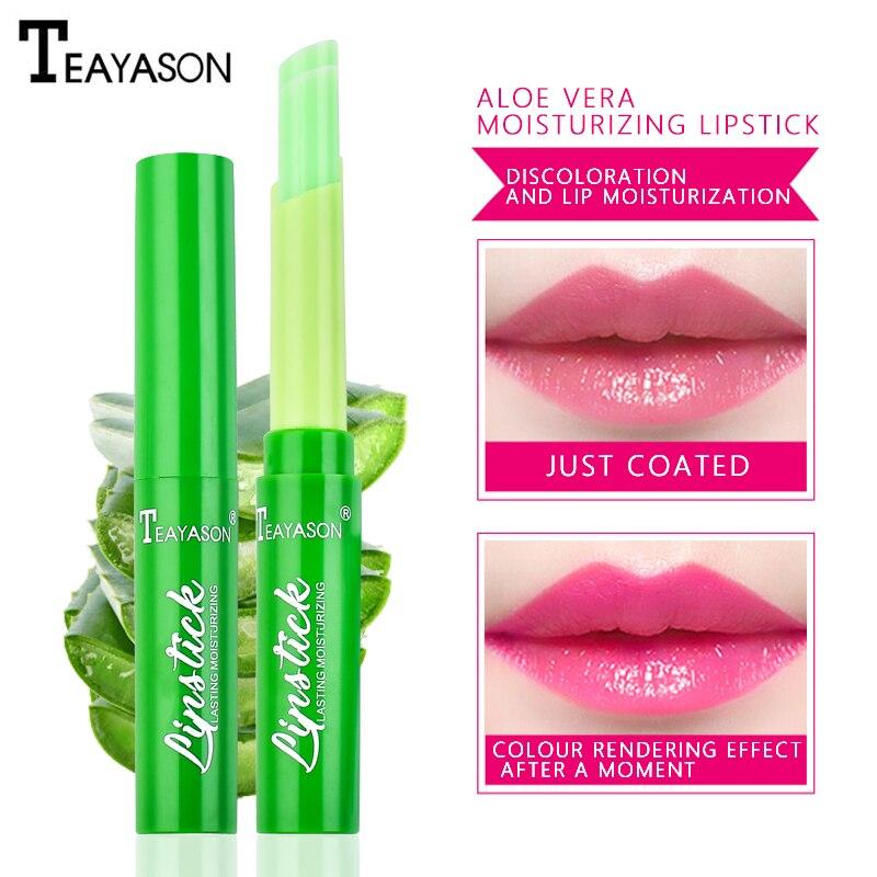 1PC wysokiej nawilżający balsam do ust Aloe Vera balsam do ust zmiana temperatury kolorowa szminka długotrwałe odżywcze chroni usta opieki TSLM2