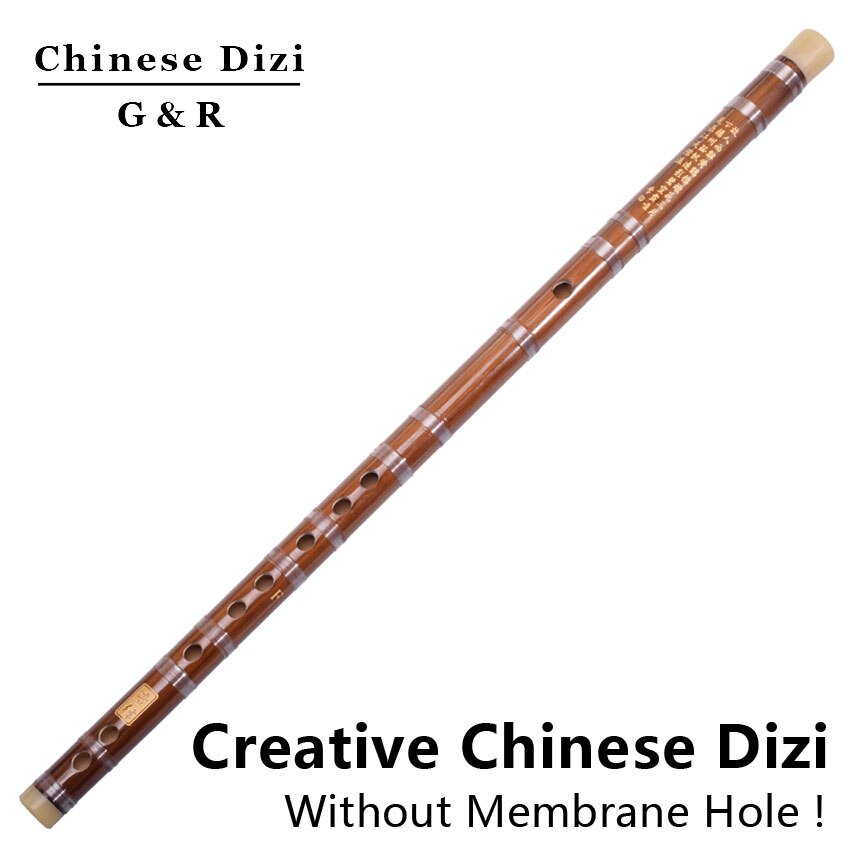 Flauta de bambú china con regalos Dizi sin orificio de membrana instrumento de música de viento transversal para música Folk cromática sintonizada