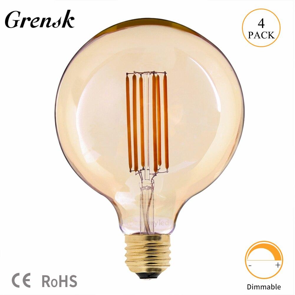 Grensk G125 LED 6W Lange Glühlampe Vintage Edison Birne Warm Weiß 2200K E27 Led 220V Dimmbare birne = 60W Glühlampen Lampe