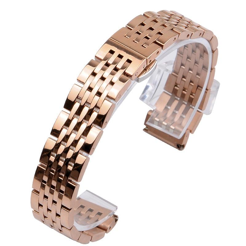 Купить с кэшбэком 14MM 16MM 18MM 19MM 20MM Stainless Steel Watc Strap For TISSOT Watch band 1853 T41 T17 Silver Golden Rose Gold watch bracelet