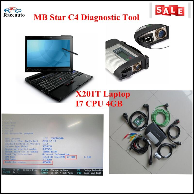 2016 MB SD C4 HDD MB Star C4 Software V2016.09 multi-idioma MB coche herramienta de diagnóstico con thinkPad X201t portátil I7cpu
