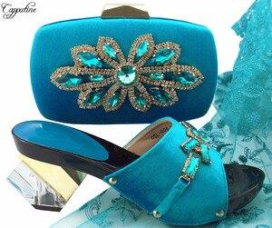 Elegant party set matching strange heel sandal shoes and evening bag set nice matching for evening dress QSL006 sky blue