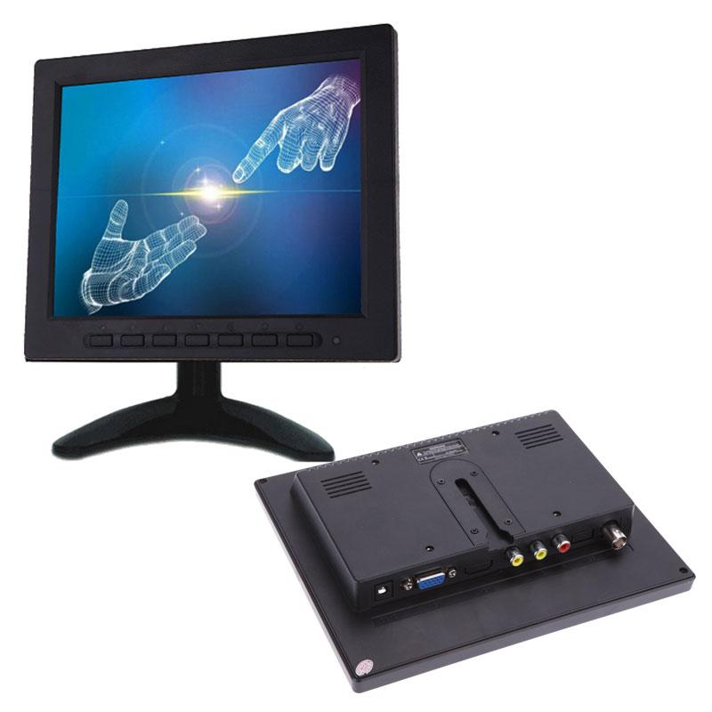 شاشة فيديو ملونة TFT LCD مقاس 8 بوصات ، CCTV ، VGA ، BNC ، AV ، إدخال للكمبيوتر الشخصي ، جهاز تحكم عن بعد وحامل شاشة دوار
