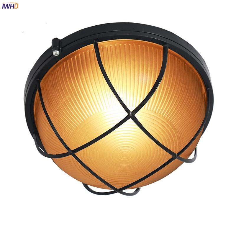 IWHD-مصباح سقف دائري LED عتيق مقاوم للماء ، مصباح سقف مزخرف ، مثالي للمطبخ أو الشرفة أو الحديقة الشتوية.