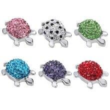 6 colores 2016 pulseras de abalorios de cristal tortuga 18mm botón de Metal joyería para brazalete de una dirección relojes de mujer 050101
