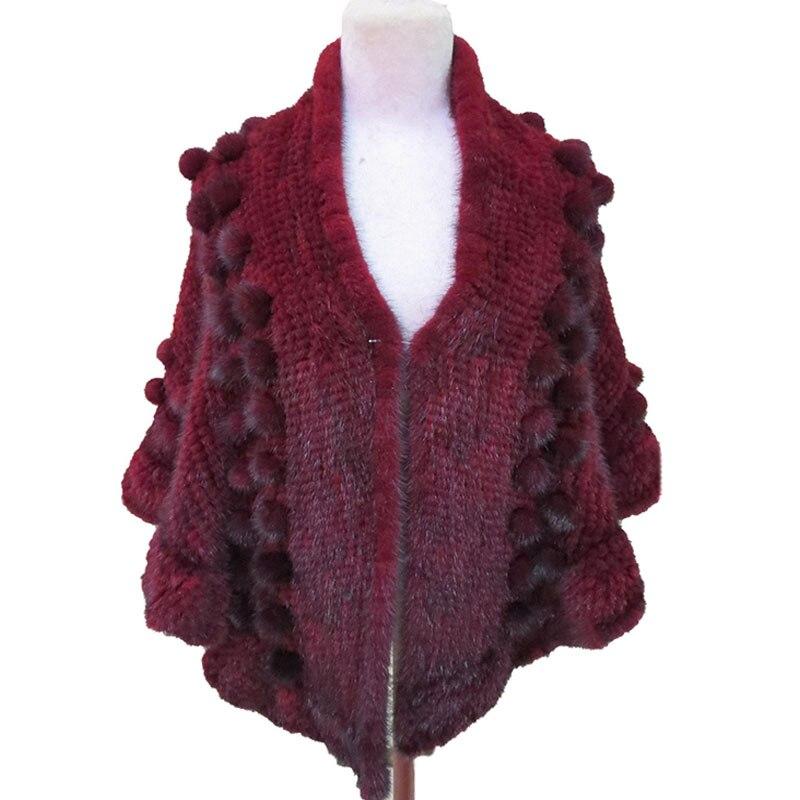شال نسائي من فرو المنك الأصلي ، معطف شتوي منسوج ، فاخر ، أحمر خمري ، مقاس 70.86