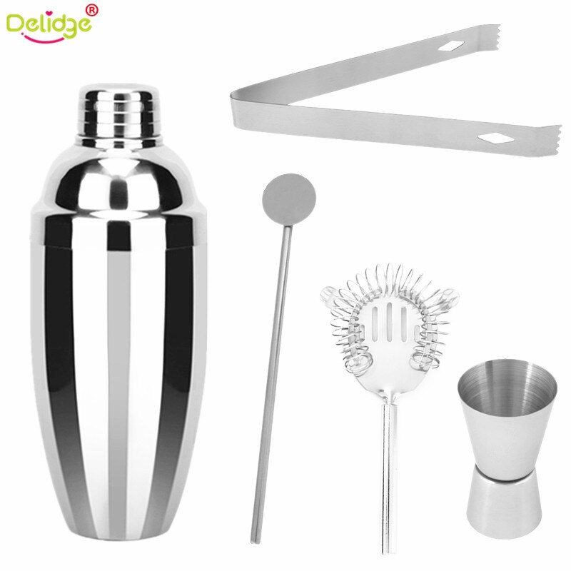 Delidge 5 unids/set 750ml coctelera para cóctel que hace las herramientas de acero inoxidable Clip taza Swizzle Sticks barman utensilios de bar