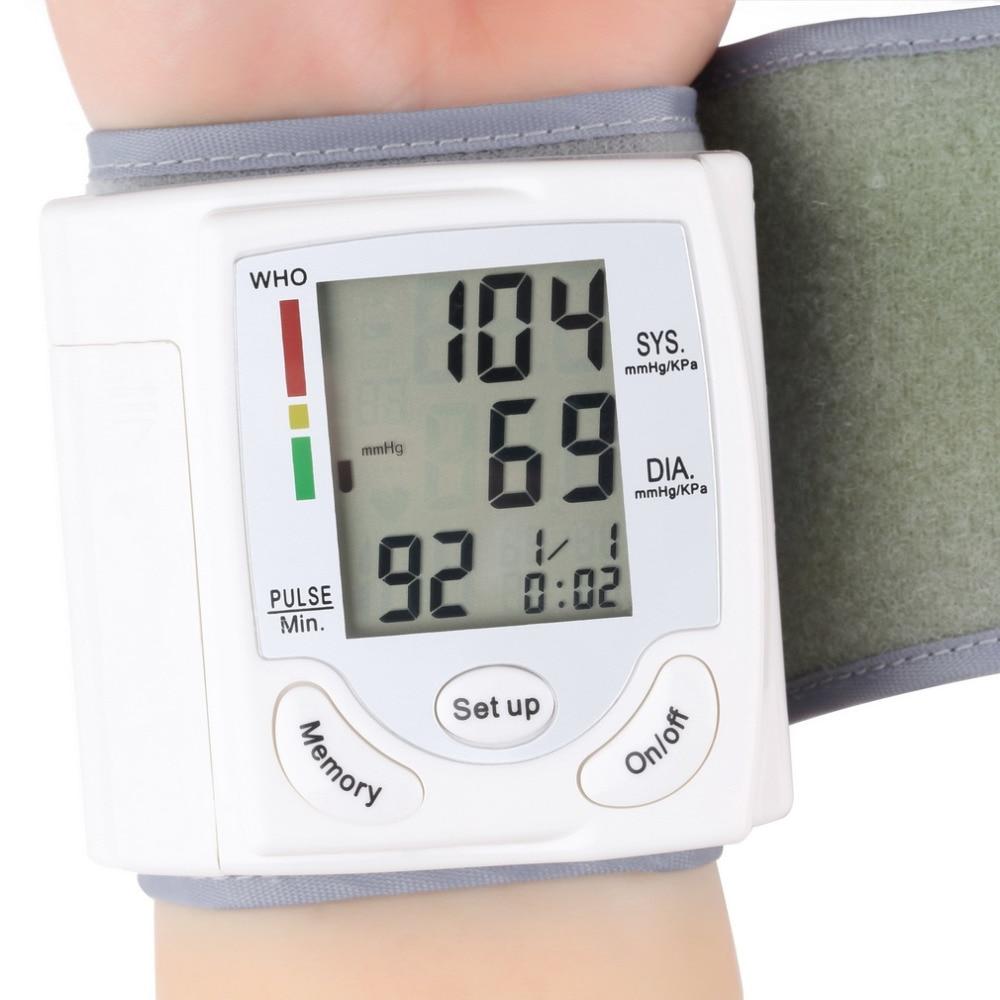 Monitor de cuidado de la salud, pantalla LCD Digital automática, Monitor de presión arterial de muñeca, medidor de pulso de ritmo cardíaco, medición, transporte blanco
