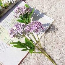 Bouquet de fleurs de Lilac 3 têtes   Fausses fleurs en soie, décoration de mariage pour la maison bricolage, Excellent produit du commerce extérieur