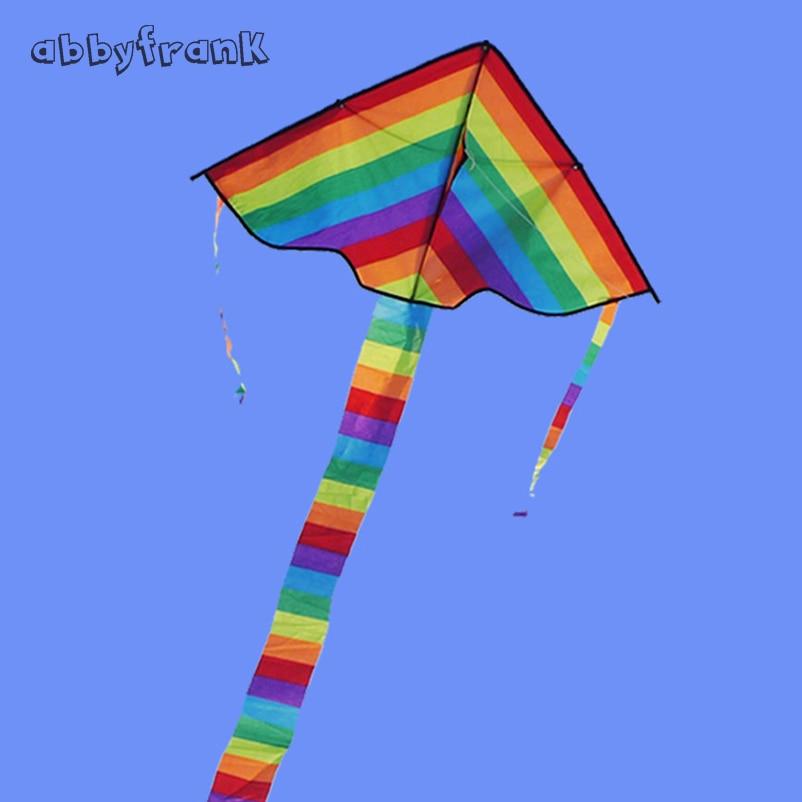 Niños al aire libre Fun Fly Arcoiris de Nylon cometas 100m manejar la línea de tablero con manija línea buen vuelo cometa juguete para regalo Lightaling