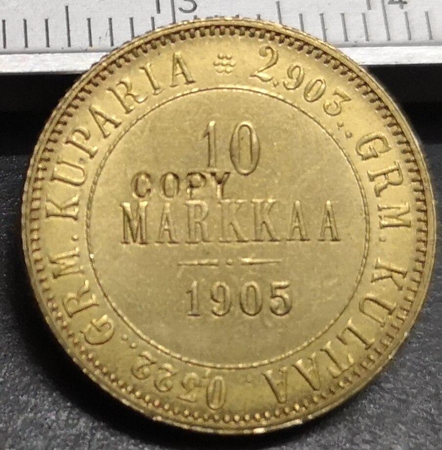 1905 Finland 10 Markkaa-Aleksandr II/Nikolai II Ouro Cópia moeda Rara