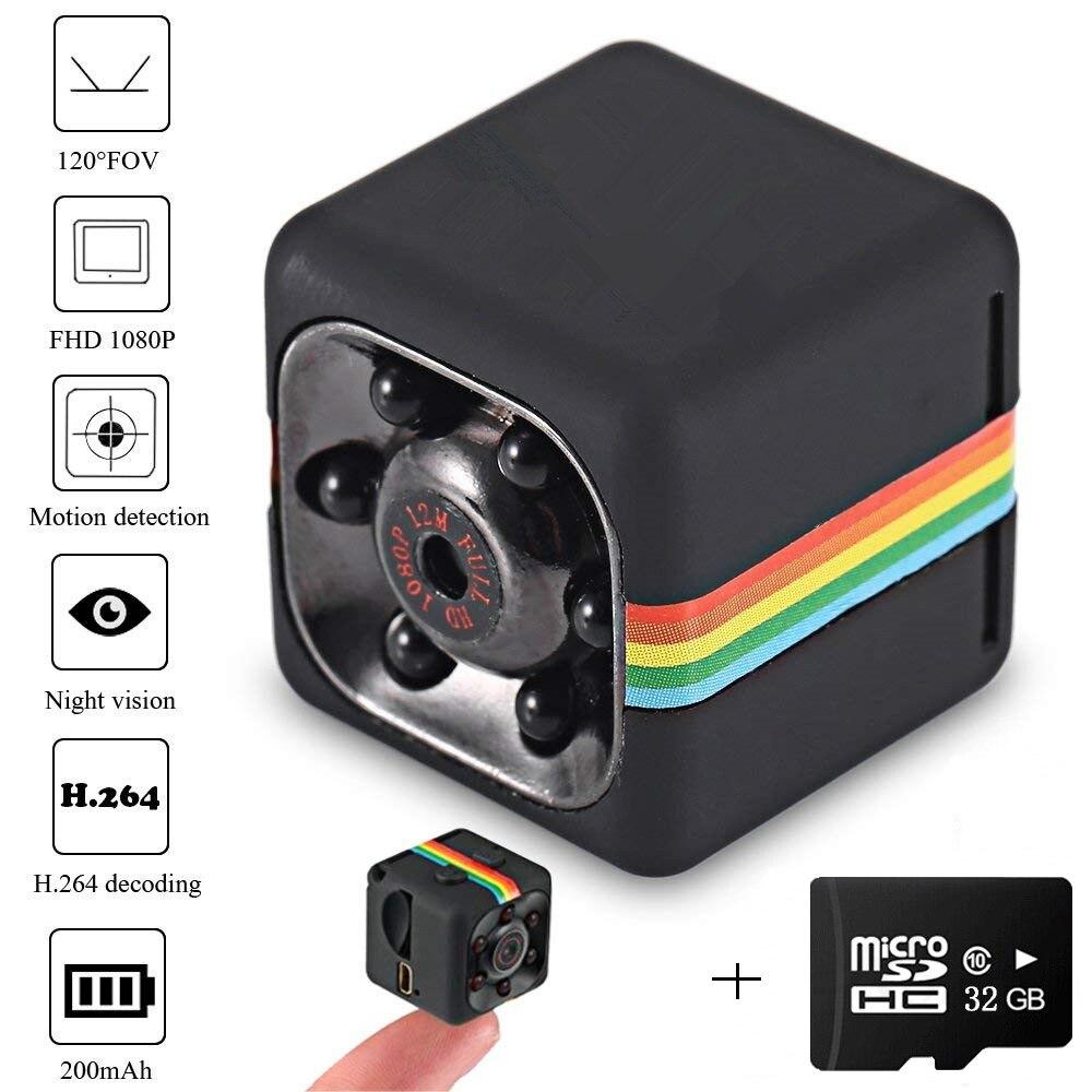 SQ11 Mini cámara HD 1080P visión nocturna Micro cámara grabadora DVR Sensor deporte DV Video cámara Micro memoria USB tarjeta TF tarjeta 32GB