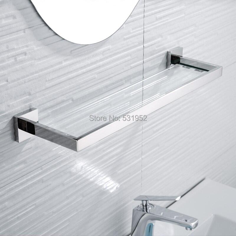 Estante de pared de vidrio para baño de acero inoxidable SUS 304, estante de vidrio para toallas, estante de almacenamiento pulido para toallas