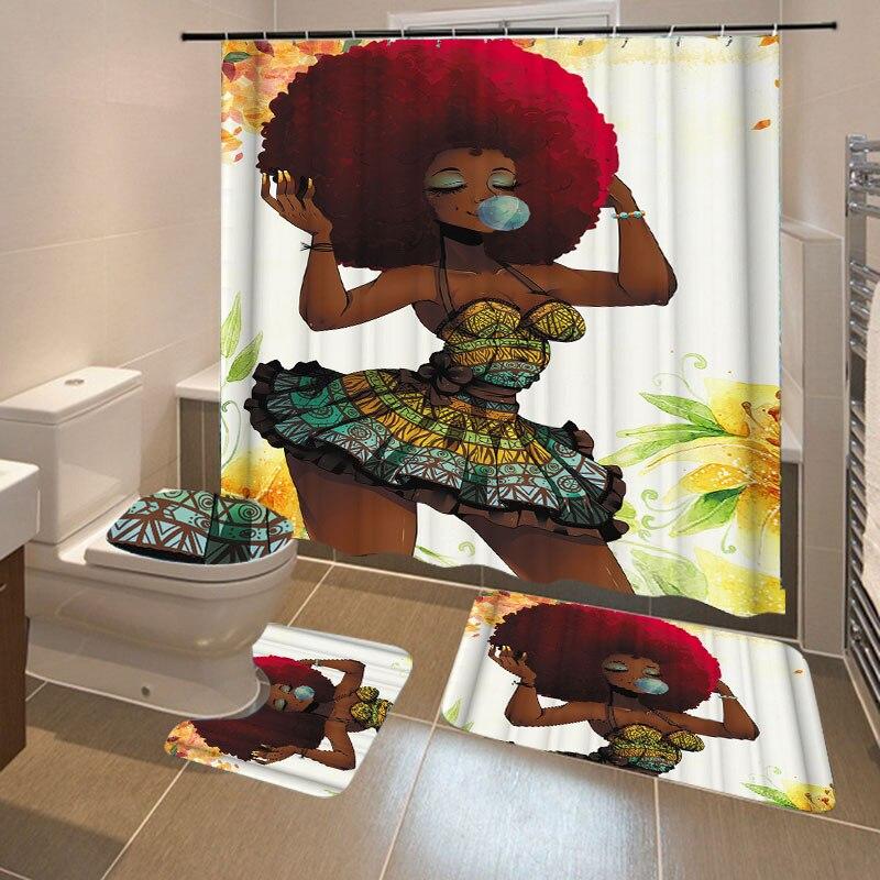 Juego de 4 unids/set de cortina de ducha de baño de poliéster impermeable con impresión de chica africana de moda, juego de alfombrilla antideslizante para el baño