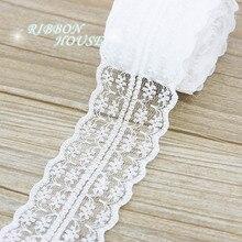 Sangle en tissu dentelle blanche (5 yards/rouleau) 45mm   Joli matériel demballage pour cadeau