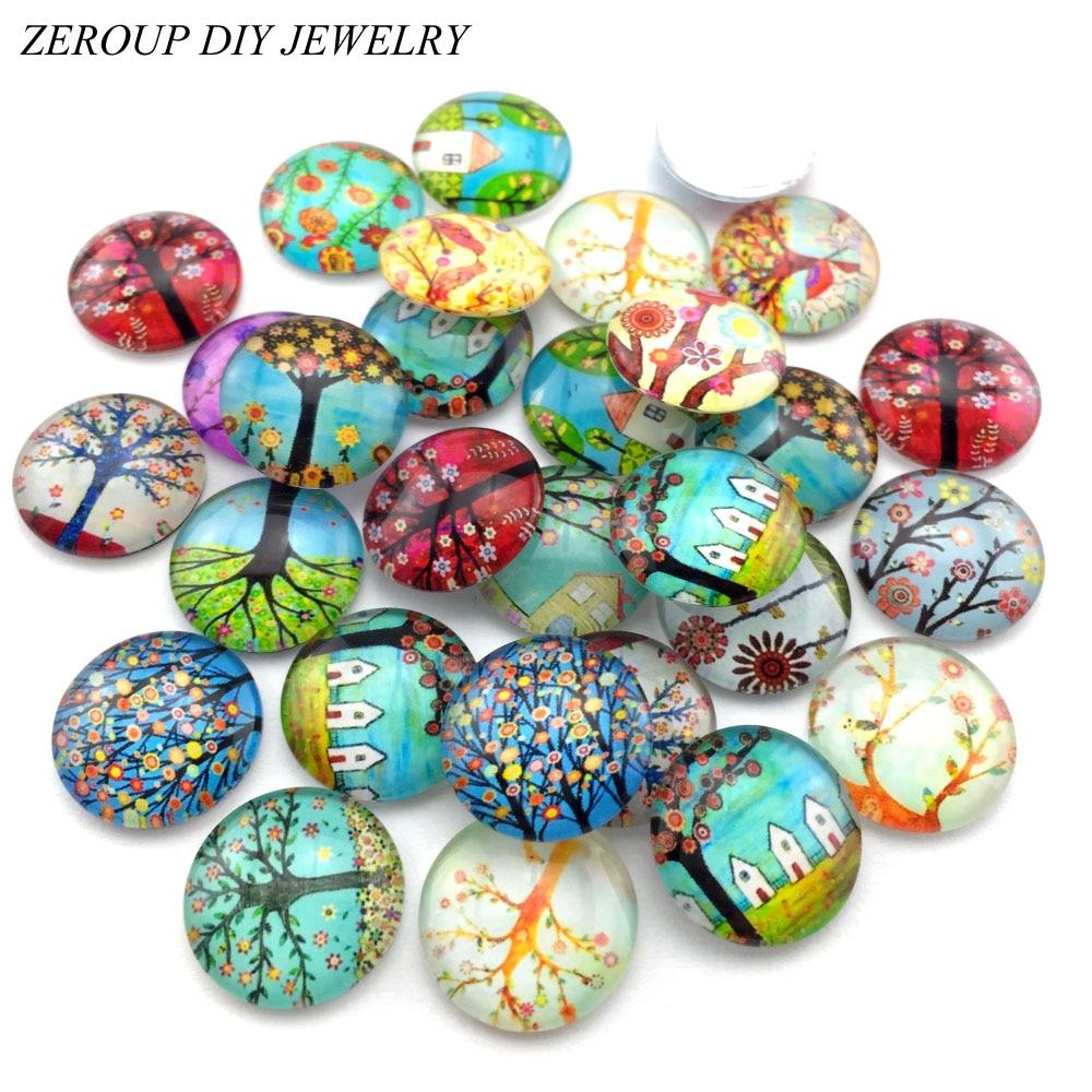 ZEROUP cabujón de cristal 12mm 10mm redondas mixtas foto Configuración de Cameo cabujón suministros para accesorios de joyería patrón hecho a mano 50 Uds