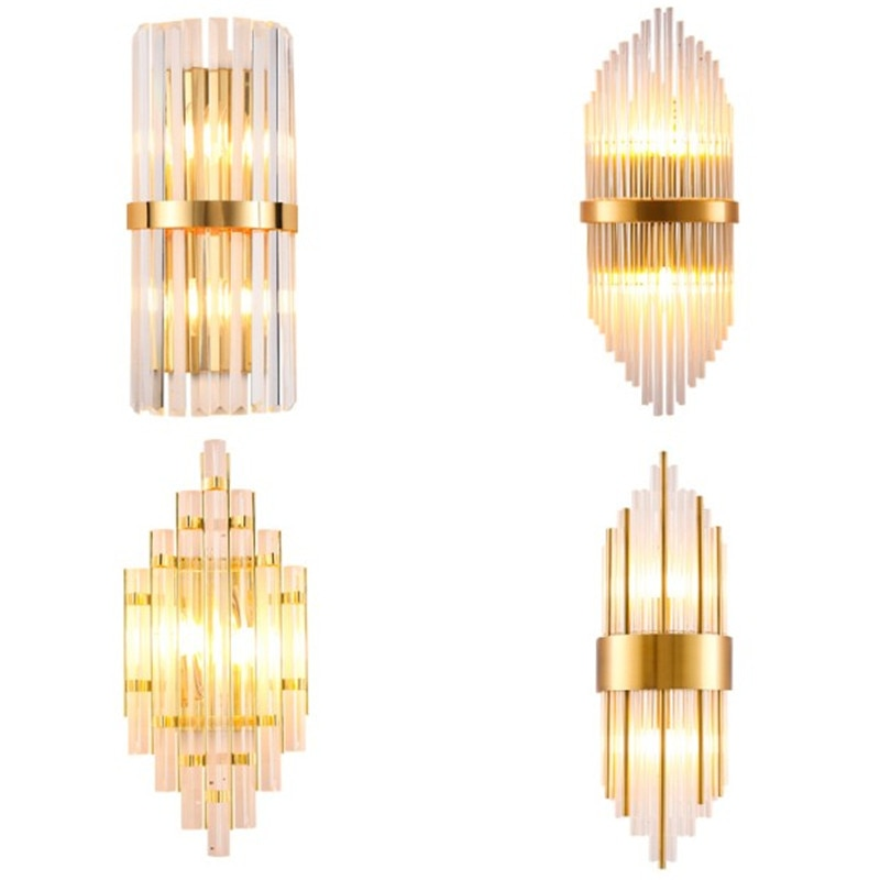 Modern Golden Metal Crystal Glass Wall Lamp Italy Design Wall Scone luminaire Led Indoor Lighting Fixtures Bedside Wall Lamp