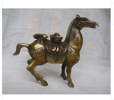 Art Bronze home decoration Folk Culture Brass Elaborate Chinese Decoration Copper Manual Horse Auspicious Statue