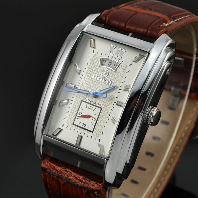 Brand New Men Watches Mechanical Watch Men GOER Automatic Watch Fashion Rectangle Watch Men Leather