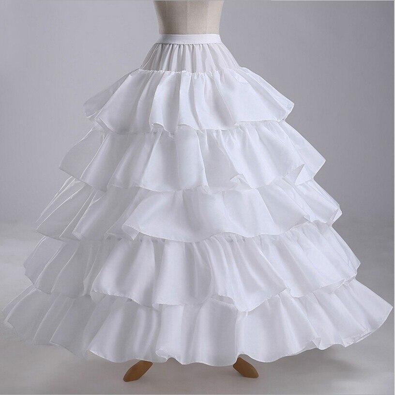 Mulheres vestido de Baile Anáguas Hoops 4 5 Camadas Branco Ruffles Cetim vestidos de Casamento Petticoat Underskirt Crinolina Acessórios Do Casamento