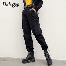 Darlingaga Streetwear Hip Hop Cargo pantalon femmes noir taille haute pantalon cordon ample Joggers sarouel bas Harajuku