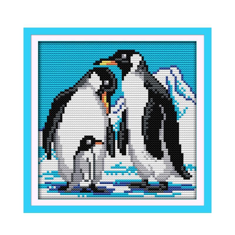 Un glaciar pingüino Antártico nieve hecho a mano costura punto de cruz kit muebles tela 11CT 14CT Calicó bordado