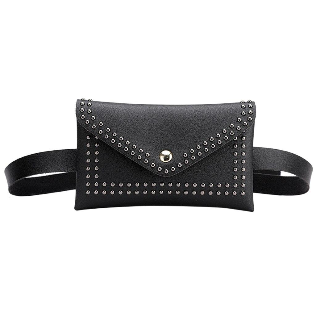 Mujeres remaches bolsa de cintura sólida al aire libre elegante pequeño cuadrado pecho bolso moda Pu cuero cerrojo bolsa de mensajero torebki damskie