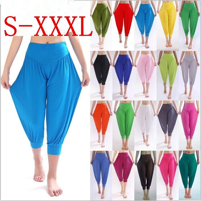 New 100% Cotton Plus Size Women's Stretch Comfy Workout  Pants Trousers Capris Womens Summer Short Harem Pants W00285