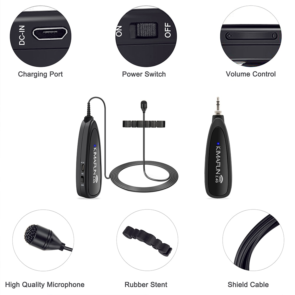 KIMAFUN KM-G150-6 2.4G Mini Wireless Professional Musical Instrument Condenser Microphone System for Violin enlarge