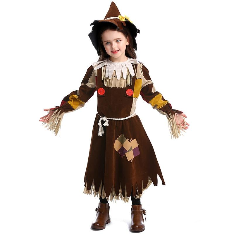 Disfraz de Cosplay para niños, chicas adolescentes, Mago de Oz Scarecrow, disfraz de Halloween, Purim, Carnaval, Mardi Gras, disfraces, vestido de fantasía